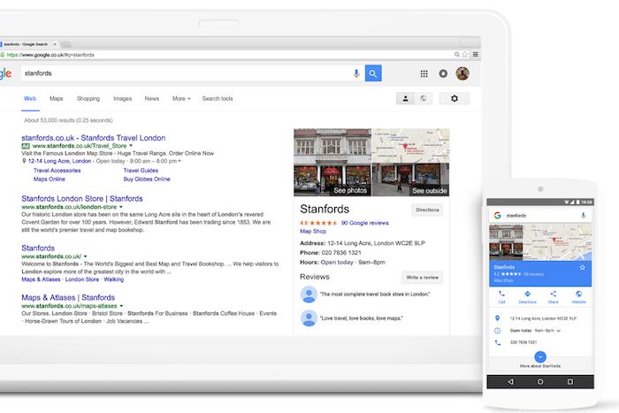 """Un esempio di risultati """"My business"""" attraverso la rete di ricerca Google"""